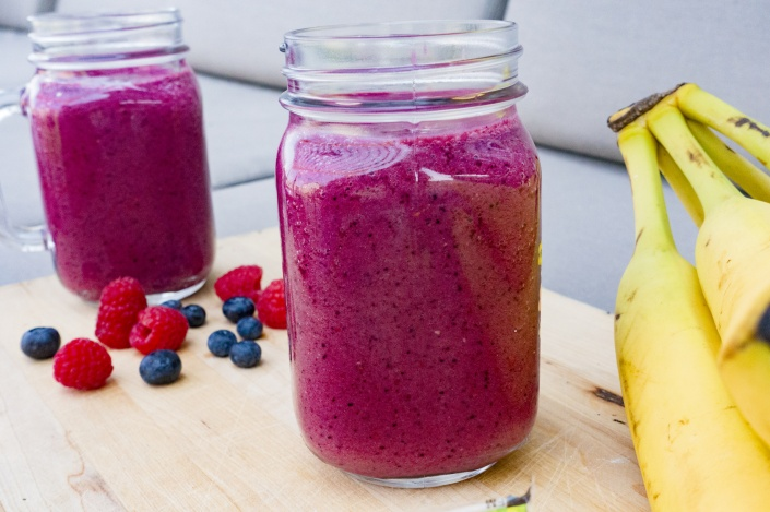 Cold Fruit Smoothies in Glasses