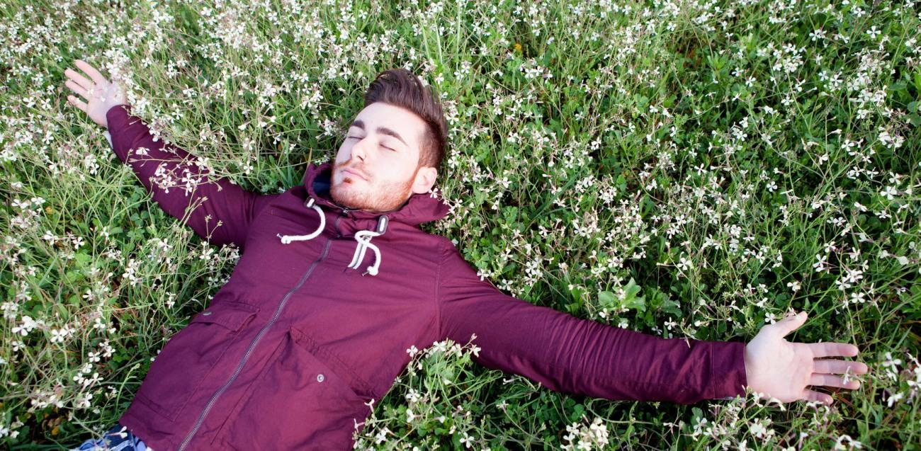 Lying in field