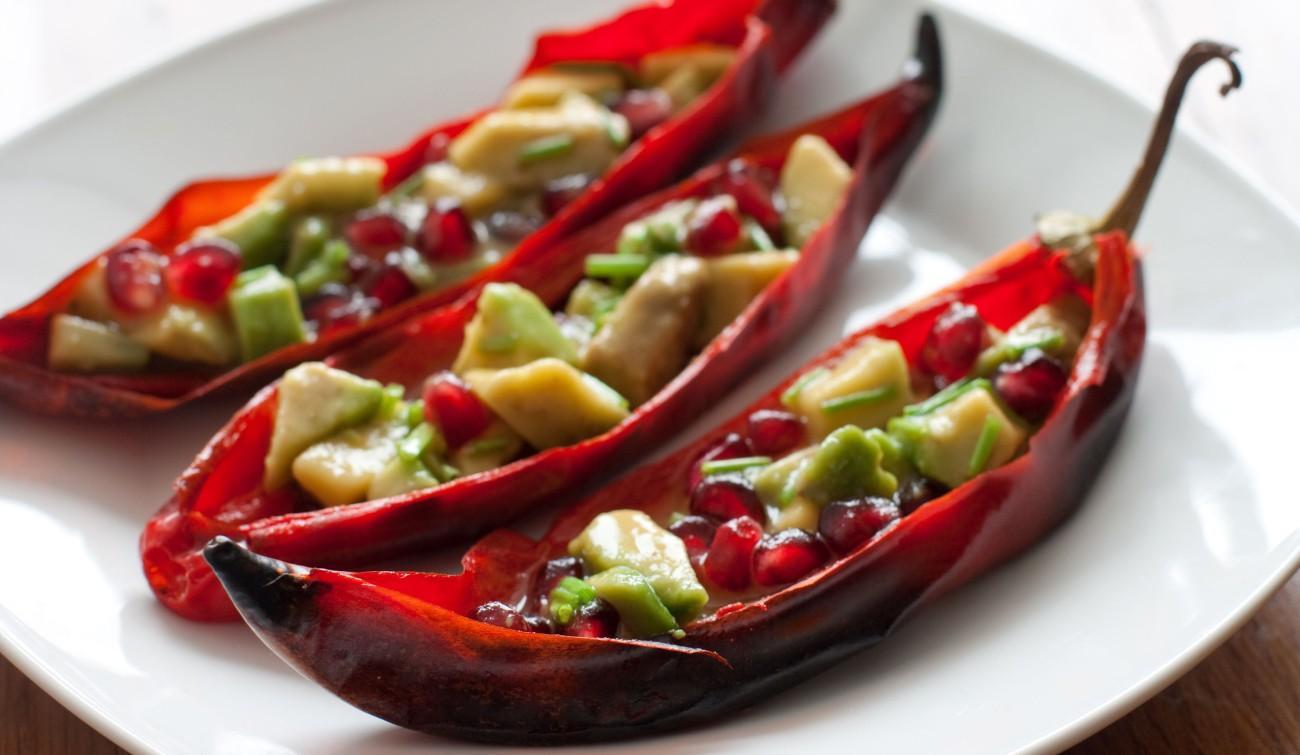chili stuffed with avocado salad