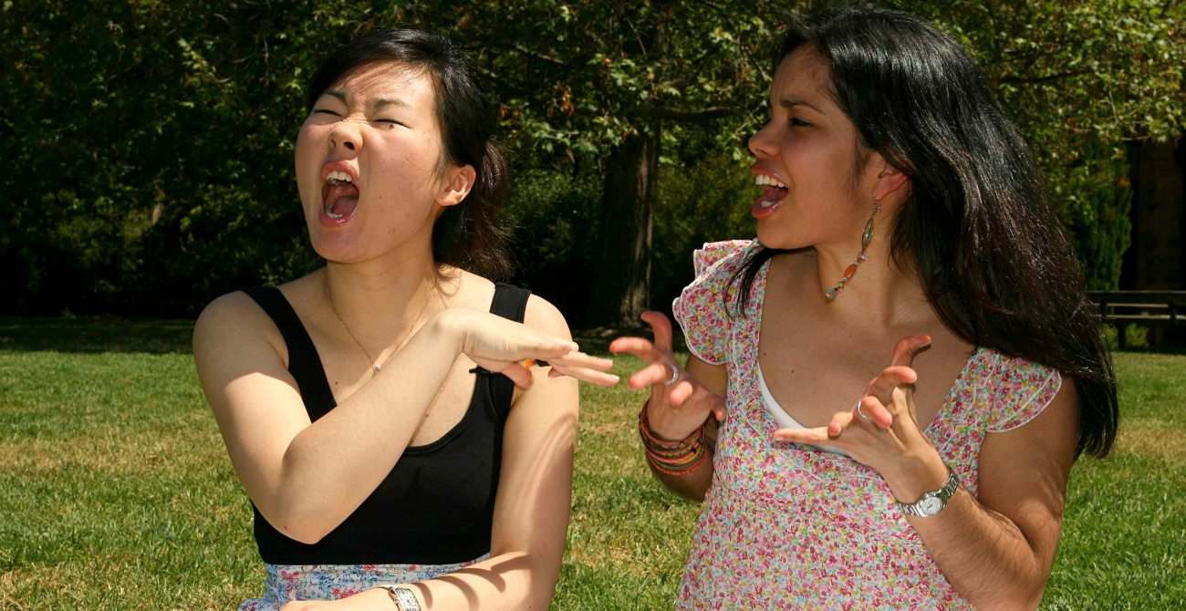 Two female students having an argument.