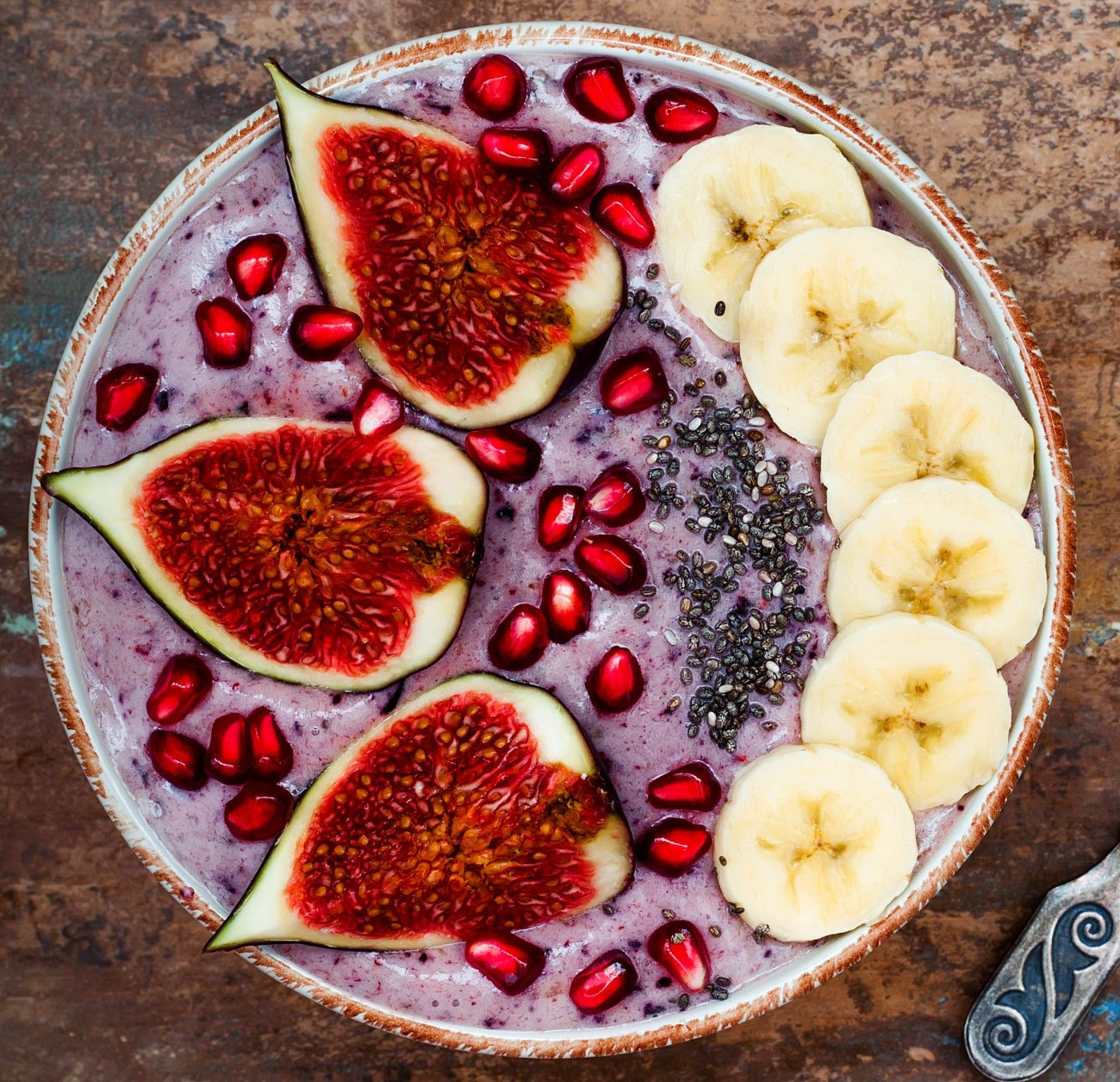 Healthy fall and winter breakfast set. Acai superfoods smoothies
