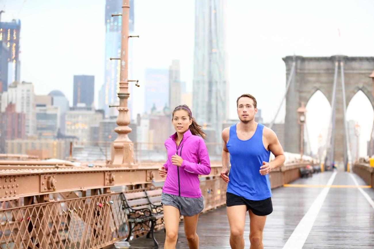 Runners couple running in New York