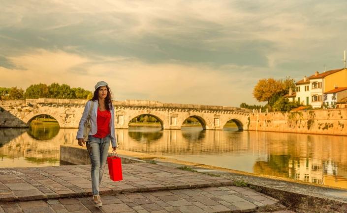 Roman Bridge in Rimini, Italy