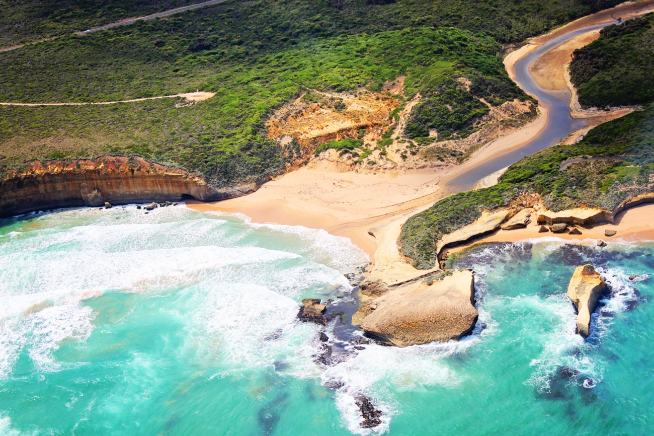 Helicopter ride above Great Ocean Road Victoria, Australia
