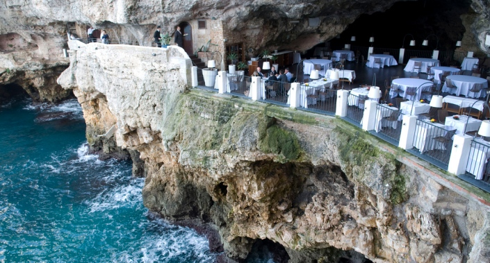 Grotta Palazzese Cave Restaurant view from Hotel Puglia