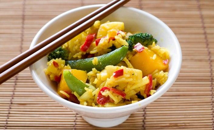 Habanero mango tofu rice bowl