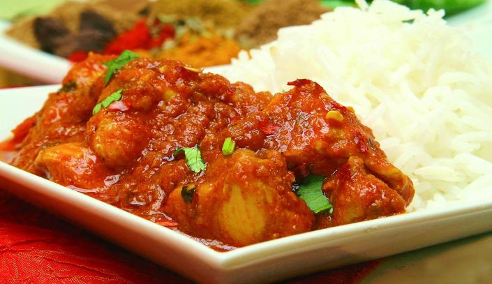 Chicken in a spicy eggplant and red pepper sauce