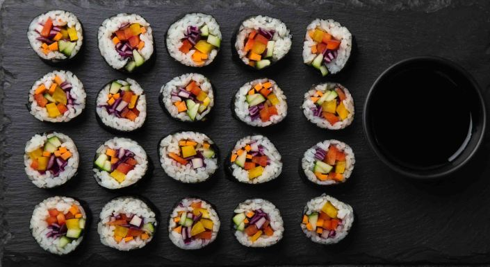 Rainbow vegan sushi rolls