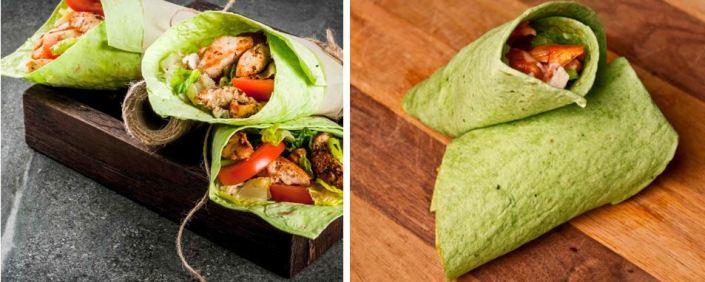 chicken or tofu spinach shawarma